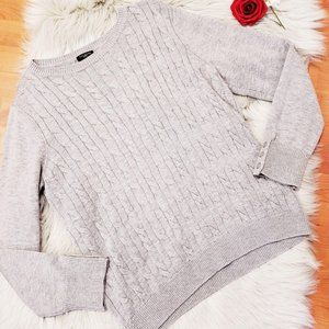 Talbots XL Lambs Wool Gray Cable Knit Sweater XL P
